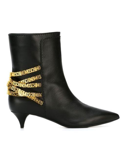 Moschino   Женские Чёрные Ботинки С Логотипом