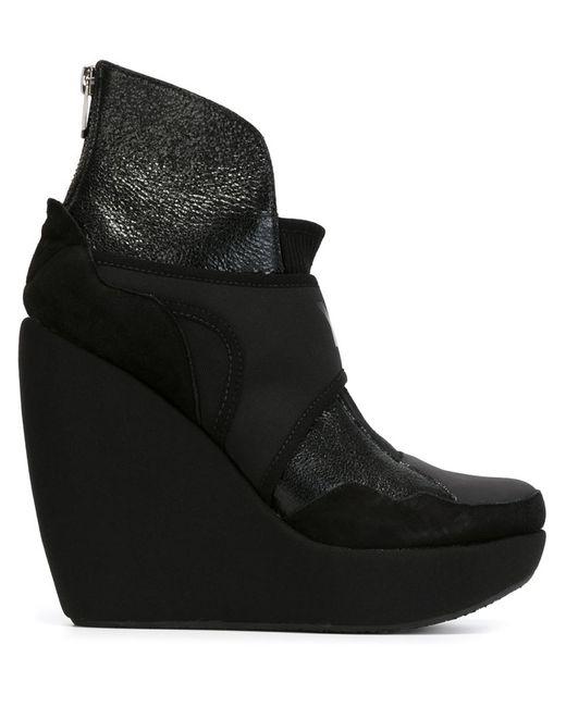 Y-3 | Женские Чёрные Ботинки На Платформе С Логотипом
