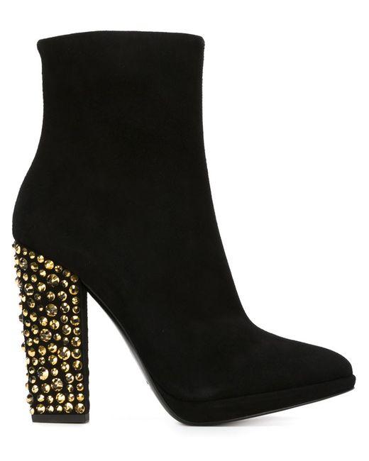 Giuseppe Zanotti Design | Женские Чёрные Сапоги С Декорированными Каблуками