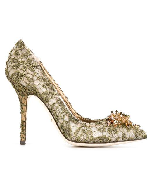 Dolce & Gabbana | Женские Серебристые Туфли Bellucci С Кружевной Отделкой