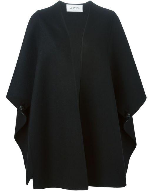 Valentino | Женское Чёрное Объемное Пальто С Широкими Рукавами