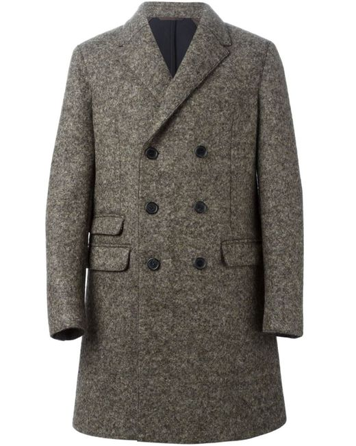 Neil Barrett | Мужское Серое Двубортное Пальто