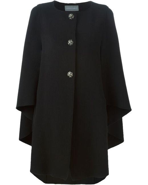 Alberta Ferretti | Женское Чёрное Пальто-Накидка На Пуговицах