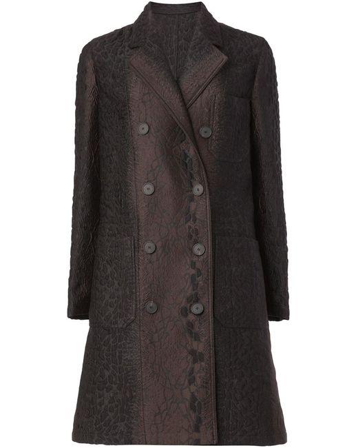 Lanvin   Женское Коричневое Двубортное Жаккардовое Пальто