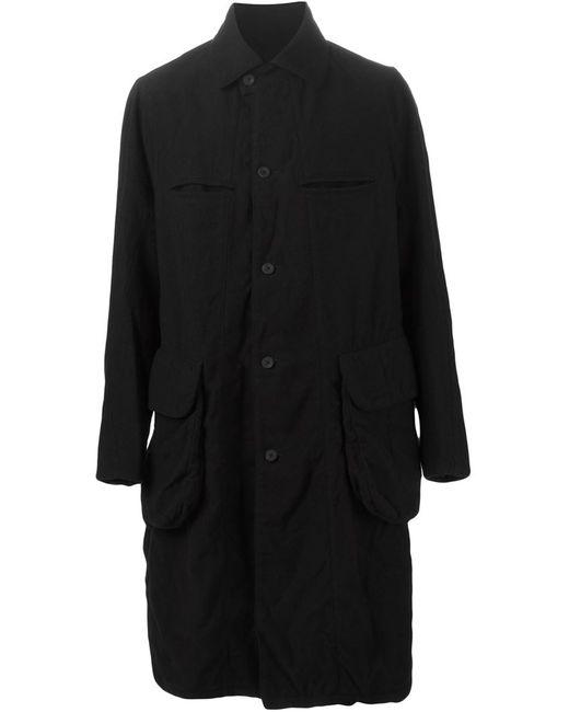 ZIGGY CHEN | Мужское Чёрное Пальто С Помятым Эффектом