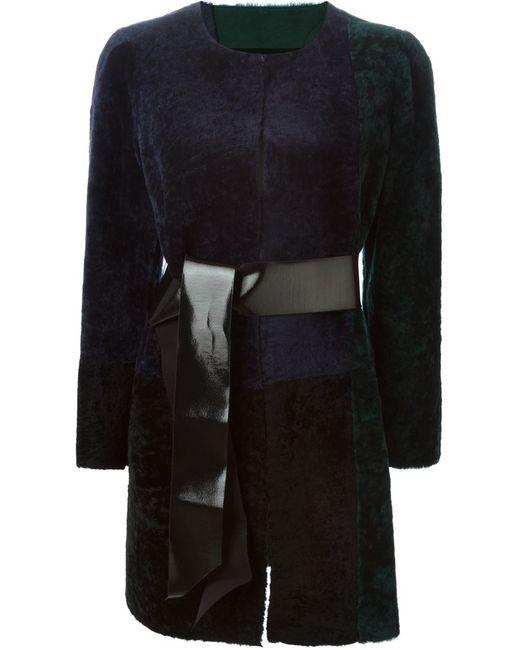 Blancha | Женское Синее Пальто Колор-Блок