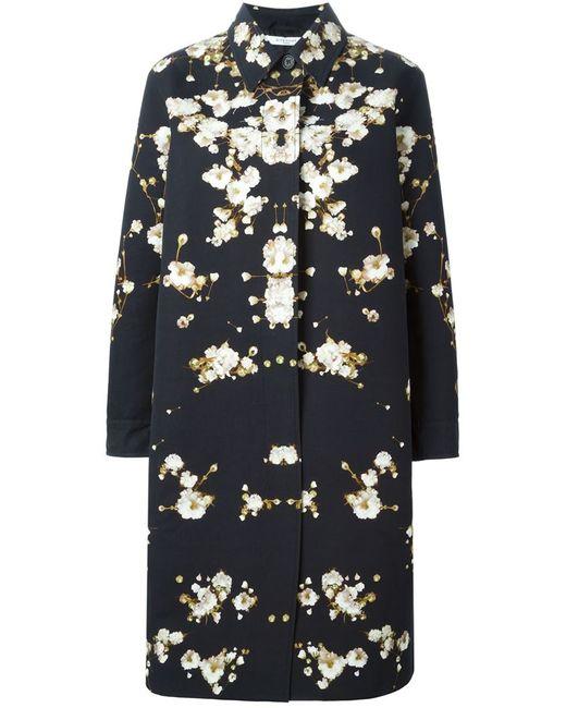 Givenchy   Женское Чёрное Пальто С Цветочным Принтом