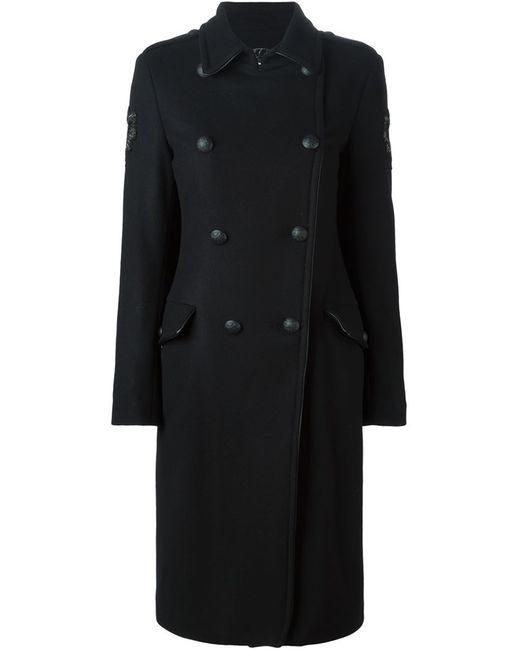 Amen | Женское Чёрное Двубортное Пальто Свободного Кроя
