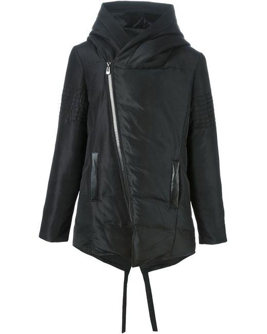 Unconditional   Мужское Чёрное Дутое Пальто Со Смещенной Застежкой-Молнией