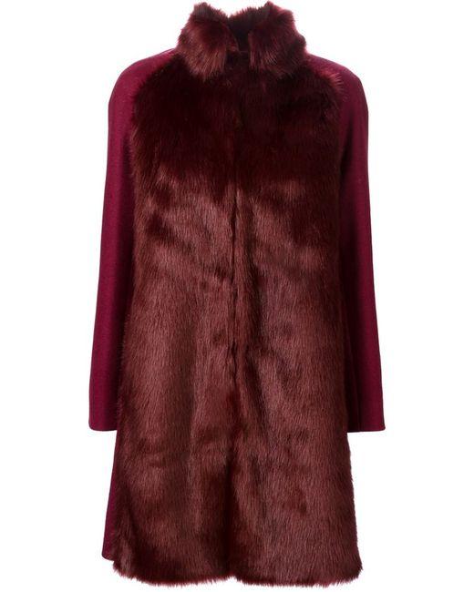 GIAMBA | Женское Красное Меховое Пальто Свободного Кроя