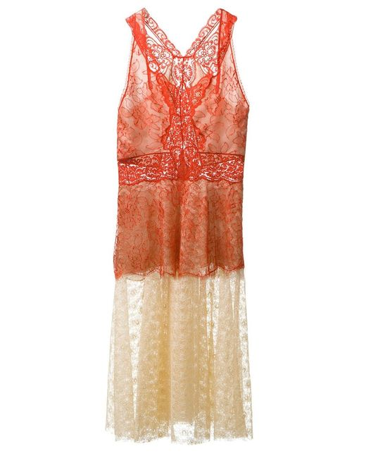 Stella Mccartney | Женское Желтый Colour Block Lace Dress
