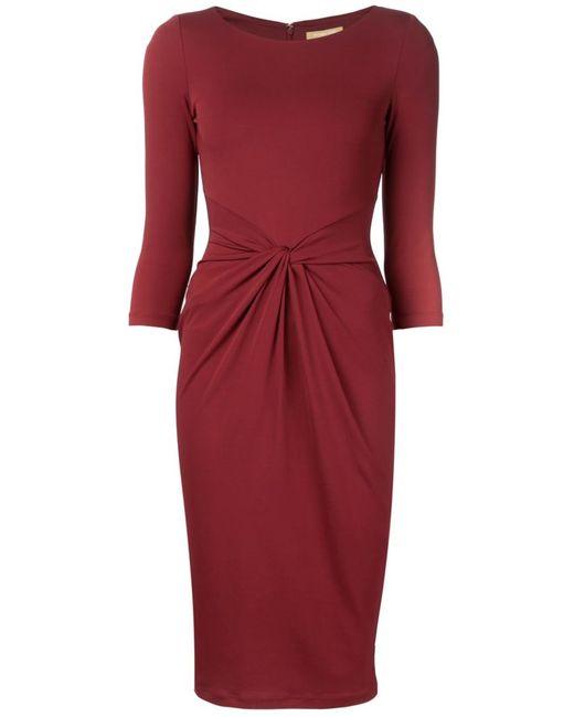 Michael Kors | Женское Красное Облегающее Платье С Перекрученной Деталью