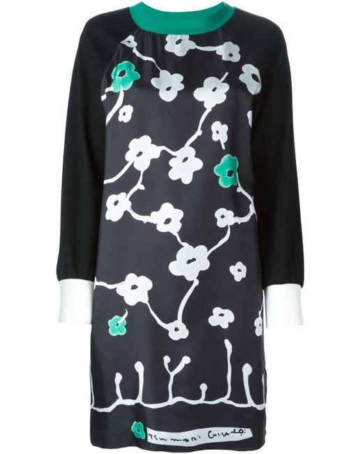 Tsumori Chisato | Женское Чёрное Платье-Шифт С Цветочным Принтом