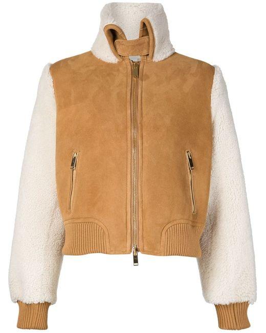 OFF-WHITE | Женская Коричневая Куртка С Высоким Воротником