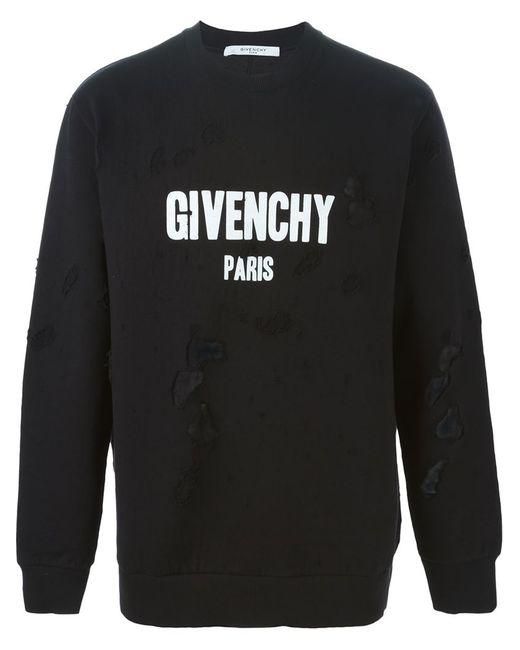 Givenchy | Мужская Чёрная Толстовка С Рваными Деталями