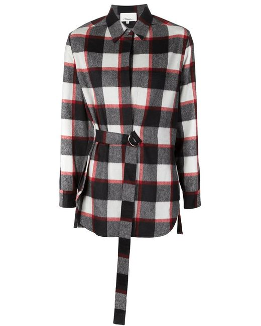 3.1 Phillip Lim | Женская Чёрная Фланелевая Рубашка В Клетку