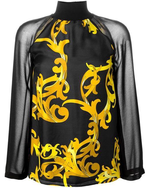 Versace Collection | Женская Чёрная Блузка С Принтом Барокко