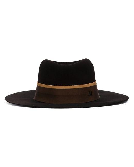 Maison Michel   Женская Чёрная Фетровая Шляпа С Широкими Полями