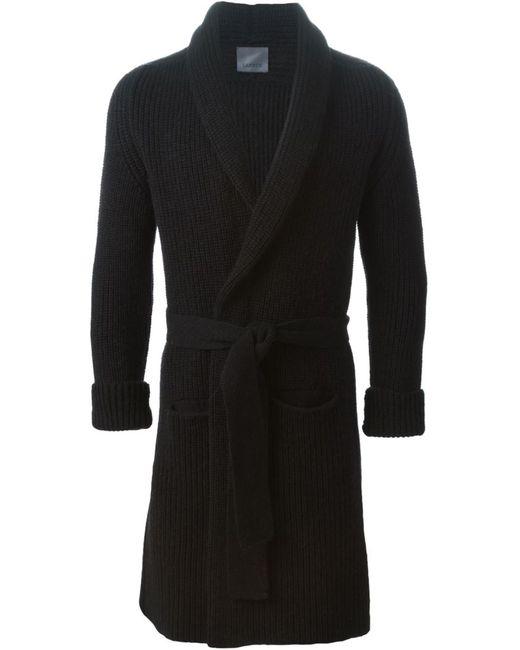 Laneus   Мужское Чёрное Вязаное Пальто С Поясом