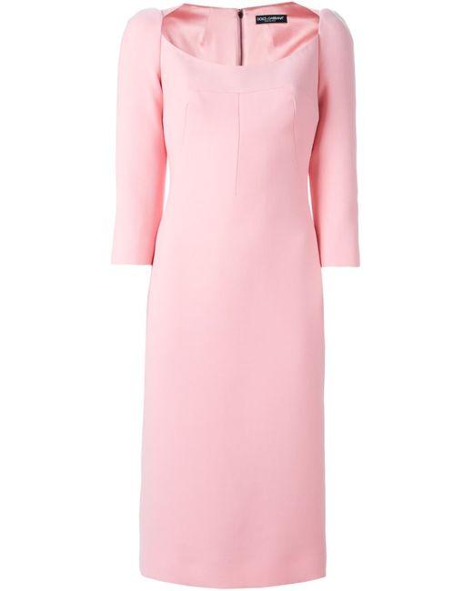 Dolce & Gabbana | Женское Розовое Платье С Глубоким Вырезом