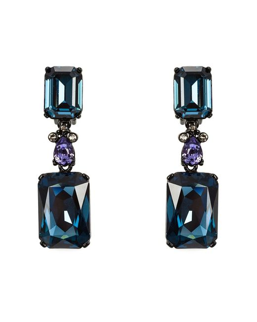 Oscar de la Renta | Женское Синий Large Octagon Stone Clip-On Earrings