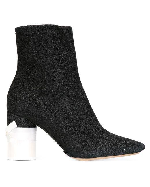 Maison Margiela | Женские Чёрные Ботинки На Контрастном Каблуке
