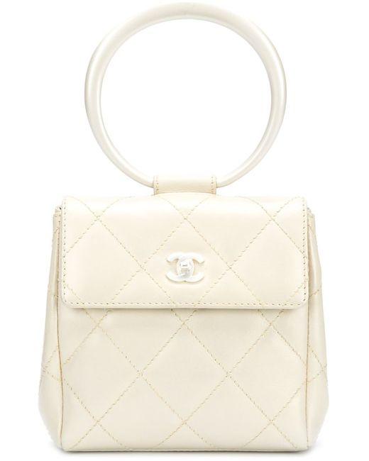 Chanel Vintage   Женский Белый Клатч С Ручкой-Кольцом