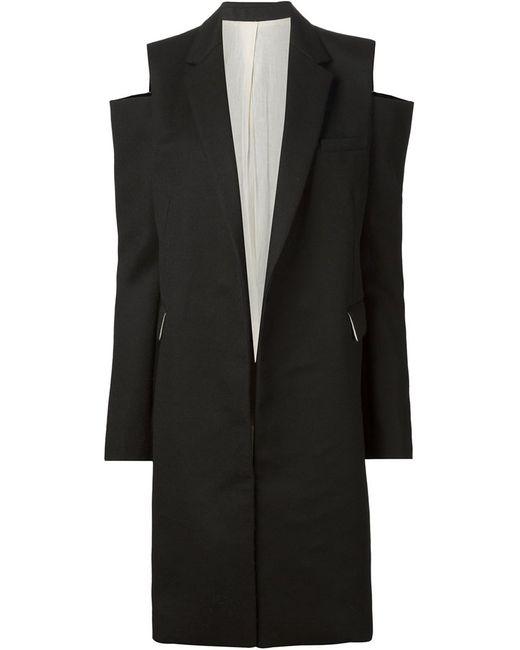 Vera Wang   Женское Чёрный Cut Shoulder Coat