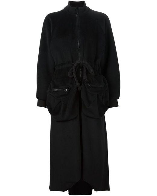 MICOL RAGNI | Женское Чёрное Длинное Пальто С Объемными Карманами