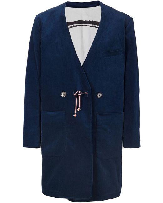 IKIJI | Мужское Синее Пальто-Кимоно С Принтом На Подкладке
