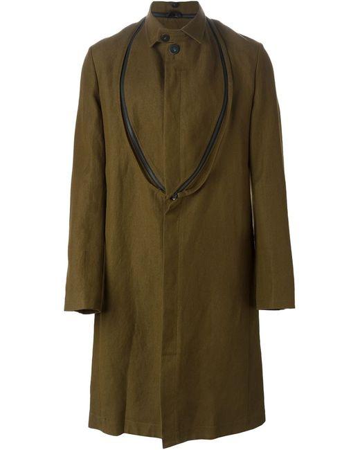 Ann Demeulemeester | Мужское Зелёное Одно-Бортное Пальто С Декоративной Молнией
