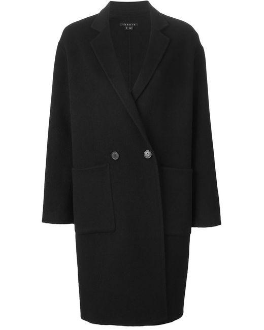 Theory | Женское Чёрное Двубортное Пальто