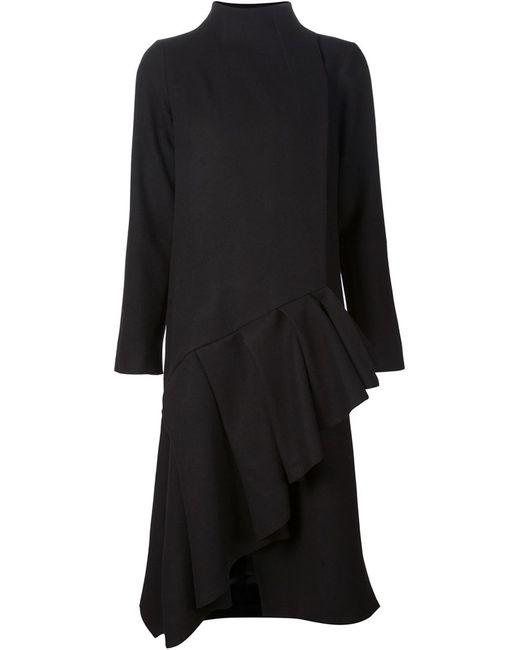 AUDRA | Женское Чёрное Асимметричное Пальто С Оборкам На Подоле