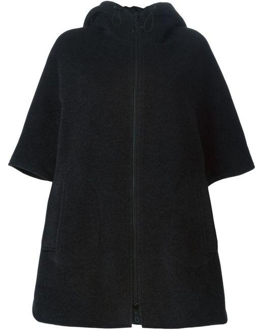 Akris | Женское Чёрное Свободное Пальто С Капюшоном