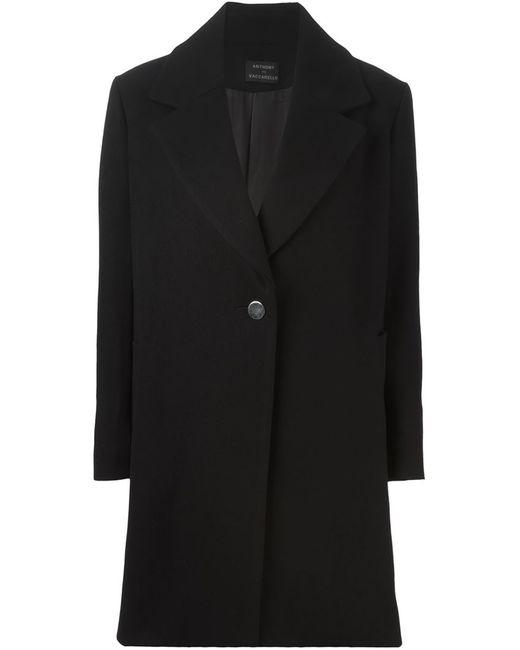 Anthony Vaccarello   Женское Чёрное Классическое Пальто Прямого Кроя