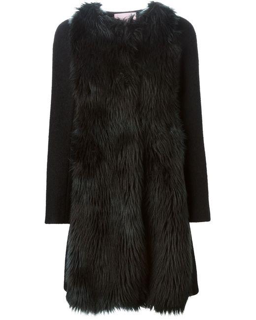 GIAMBA | Женское Чёрное Пальто Из Искусственного Меха