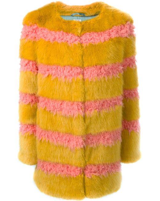 SHRIMPS | Женское Жёлтое Полосатое Пальто Из Искусственного Меха