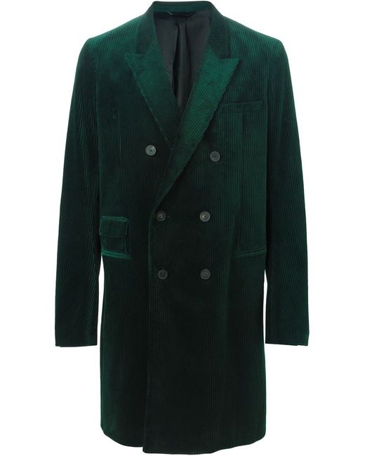 Haider Ackermann | Мужское Зелёное Вельветовое Двубортное Пальто