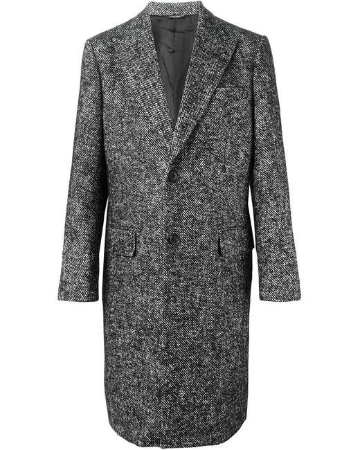 Dolce & Gabbana | Мужское Чёрное Однобортное Твидовое Пальто
