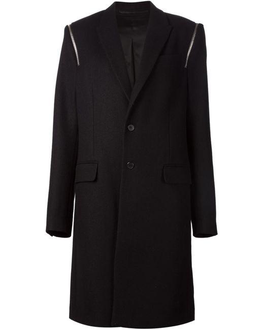Givenchy   Мужское Чёрный Zip Detail Overcoat