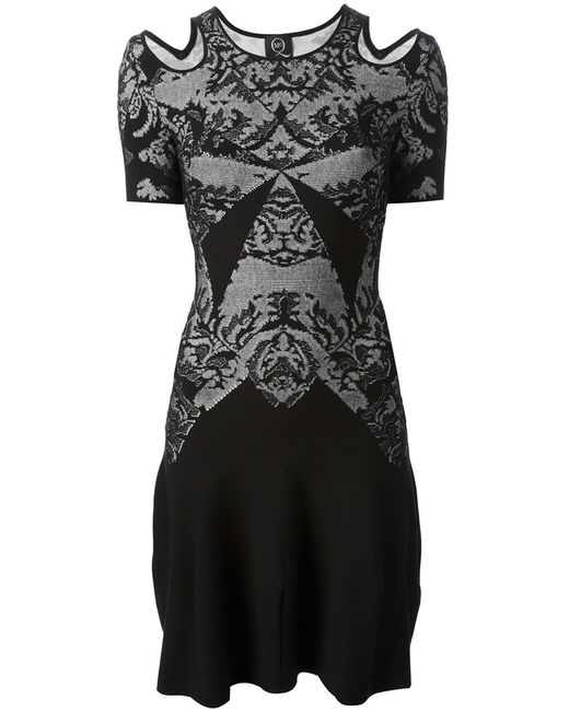 Mcq Alexander Mcqueen | Женское Чёрное Трикотажное Платье С Оптическим Узором