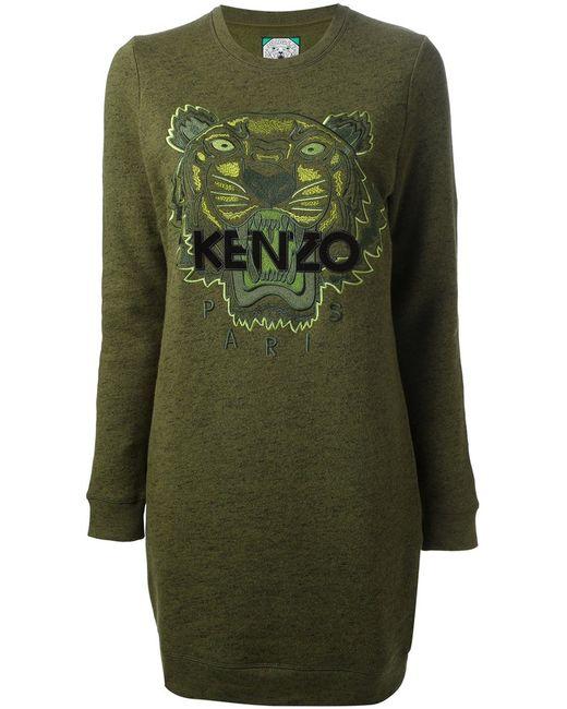 Kenzo   Женское Зелёное Платье-Свитер Tiger