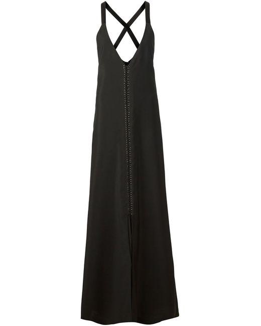 Vera Wang | Женское Чёрный Plunging V-Neck Evening Dress