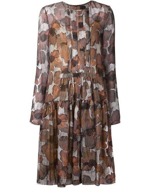 Vera Wang | Женское Серый Poppy Print Gauze Dress