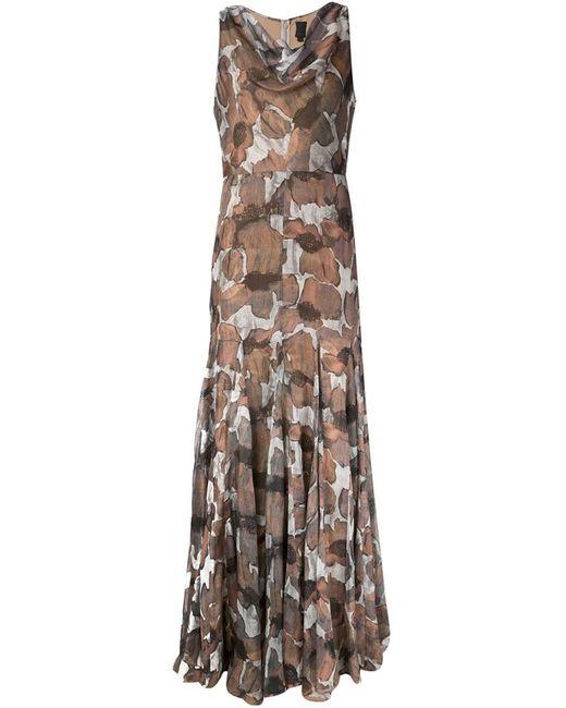 Vera Wang   Женское Серый Poppy Print Gauze Dress