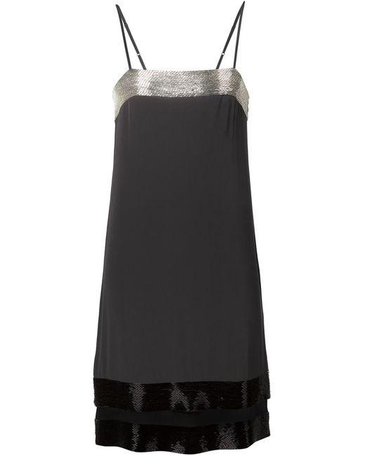 Vera Wang | Женское Чёрный Beaded Camisole Dress