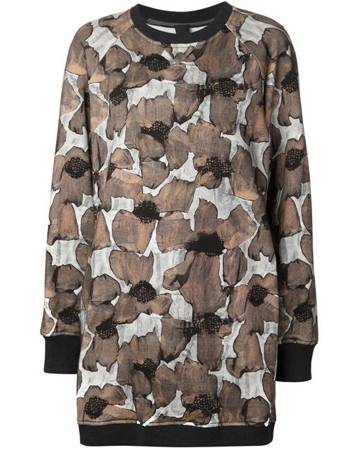 Vera Wang | Женское Чёрный Poppy Print Sweatshirt Dress