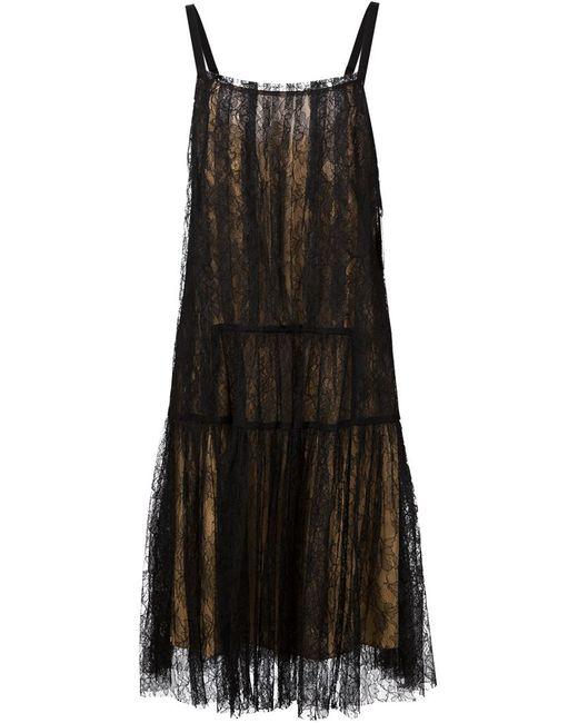 Vera Wang | Женское Чёрный Lace Midi Dress