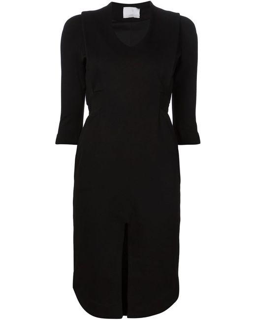 MAME | Женское Чёрное Облегающее Платье С Разрезом Спереди