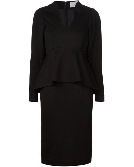 MAME | Женское Чёрное Приталенное Платье С Баской